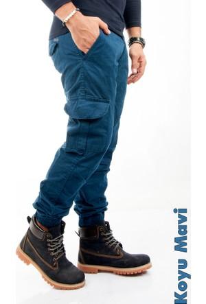 Deepsea Koyu Mavi Paçası Ve Beli Lastikli Bağcıklı Erkek Kargo Pantolon 1601569-040