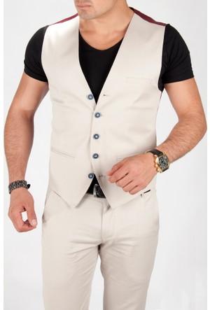 Deepsea Bej Slim Fit Önü Küçük Cepli Desenli Erkek Cepken 1603002-021