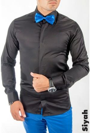 Deepsea Siyah Pamuk Saten Erkek Gömlek 1200104-002