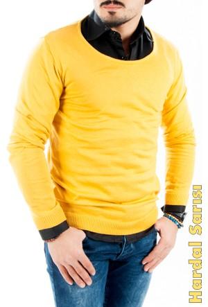 Deepsea Hardal Sarısı Geniş Yakalı Beli Ve Kolu Lastikli İnce Dar Kesim Erkek Kazak 1601048-026