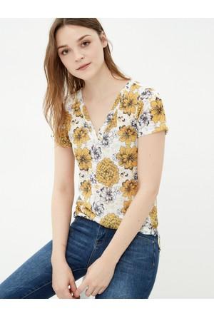 Koton Kadın Çiçekli T-Shirt Hardal