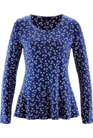 Bpc Bonprix Collection Kadın Mavi Uzun Kollu Peplum T-Shirt