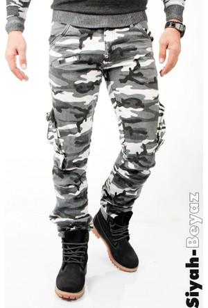 Deepsea Siyah-Beyaz Yıkamalı Dar Kesim Askeri Erkek Kamuflaj Pantolon 1601194-027