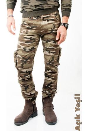 Deepsea Açık Yeşil Yıkamalı Dar Kesim Askeri Erkek Kamuflaj Pantolon 1601194-084