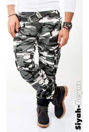 Deepsea Siyah-Beyaz Bol Kesim Yıkamalı Kargo Erkek Kamuflaj Pantolon 1625421-027