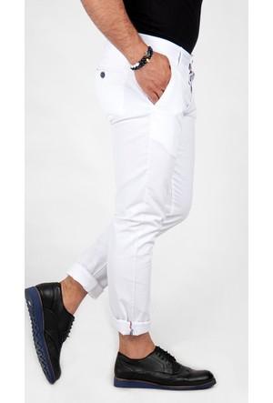 Deepsea Beyaz Slim Fit Paçası Renkli Şeritli Erkek Keten Pantolon 1602330-001