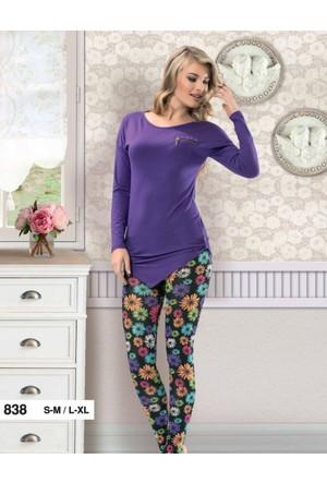 Derya Kurşun 838 Çiçek Baskılı Bayan Pijama Takımı