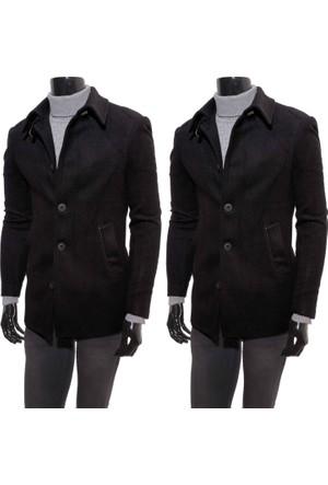 Giyimgiyim Siyah Spor Dar Kesim Erkek Kaban - Yarım Palto