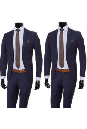 Giyimgiyim Altınyıldız Koyu Lacivert Dar Kesim Erkek Takım Elbise