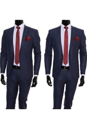 Giyimgiyim Altınyıldız Lacivert Kareli Dar Kesim Erkek Takım Elbise