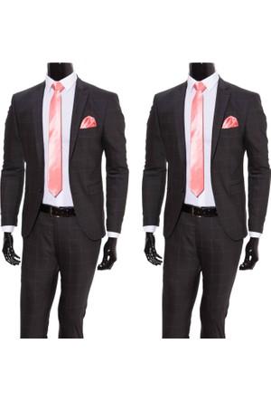 Giyimgiyim Altınyıldız Kareli Dar Kesim Erkek Takım Elbise