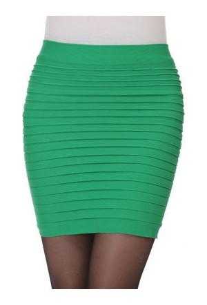 Leydika Diz Üstü Bayan Etek Yeşil