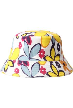 Leydika Bayan Yazlık Moda Plaj Şapka Sarı Çiçek Desenli