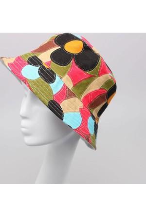 Leydika Bayan Yazlık Moda Plaj Şapkası Çiçek Desenli