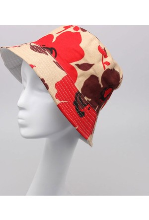 Leydika Bayan Yazlık Moda Plaj Şapkası Kırmızı Çiçekli