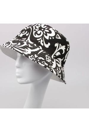 Leydika Bayan Yazlık Moda Plaj Şapkası Siyah Desenli