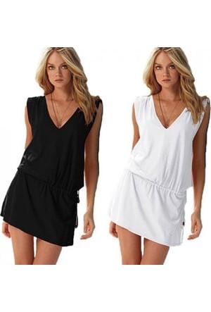 Pratik Yeni Trend Şık Yazlık Elbise (Siyah Beden:4)