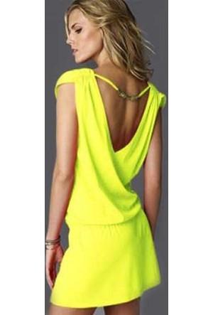 Pratik Yeni Trend Şık Yazlık Elbise (Sarı Beden:4)
