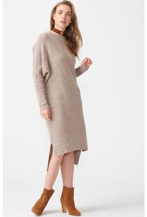 Dilvin 2076 Yarasa Kol Yırtmaçlı Elbise Bej