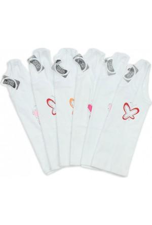 Modakids Gümüş İç Giyim 6'lı Kız Çocuk Askılı Taşlı Atlet 040-3056-027