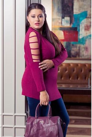 Rmg Kadın Büyük Beden Kolları İp Aksesuarlı Bluz Bordo