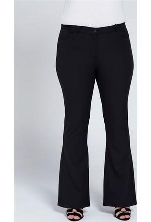 Rmg Kadın Büyük Beden Viskon Pantolon Siyah