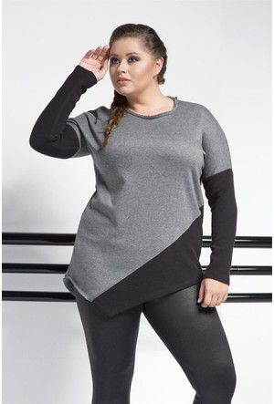 Rmg Kadın Büyük Beden Asimetrik Kesim Sweatshirt Füme