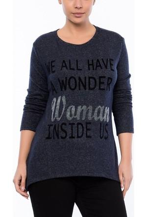 Rmg Kadın Büyük Beden Baskılı Sweatshirt Lacivert