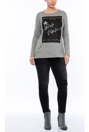 Rmg Kadın Büyük Beden Wish Perfect Baskılı Sweatshirt Gri