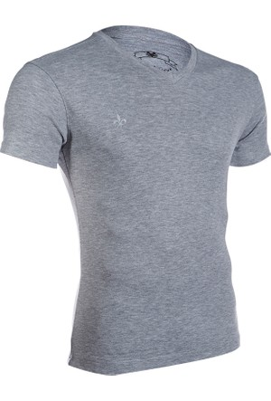 Wgust V Yaka T-Shirt (Gri)