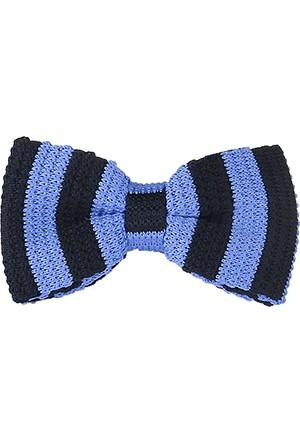 Ejoya Lacivert - Mavi Çizgili Örme Papyon 67478