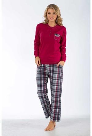 Remsa Mayo Bayan Pijama Takımı %100 Pamuk - Remsa 1079 866Uk- Mürdüm