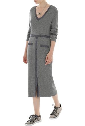 Yargıcı V Yaka Eteği Düğmeli Triko Elbise
