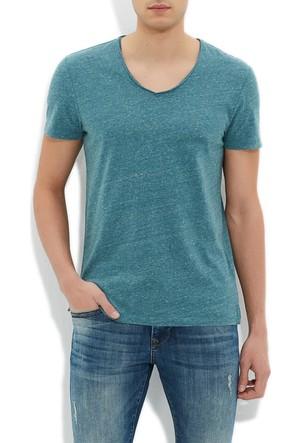 Mavi V Yaka Haki T-Shirt