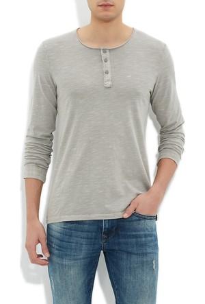 Mavi Düğmeli Yaka T-Shirt