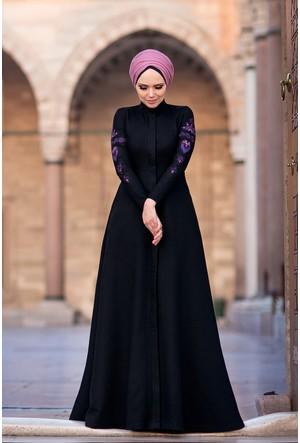 Muslima Wear Mehendi Siyah Elbise