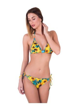 Ayyıldız 24500 Yeşil Desenli Üçgen Kalıp Bikini