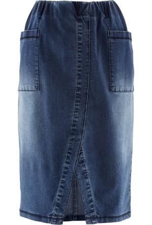Bpc Bonprix Collection Mavi Yırtmaçlı Jean Etek