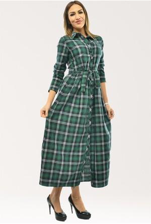 Modamla Ekose Kuşaklı Elbise