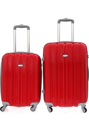 Dujour Paris Orta Boy ve Kabin Boy 2'Li Valiz Seti Kırmızı
