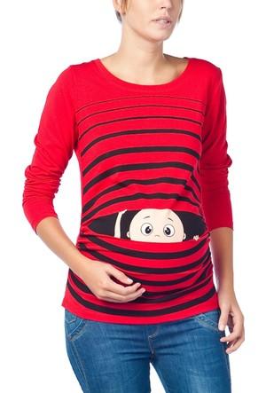 Gör&Sin Pencereden Bakan Uzun Kollu Hamile T-Shirt Kırmızı