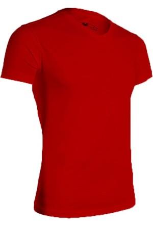 Wgust V Yaka T-Shirt Kırmızı