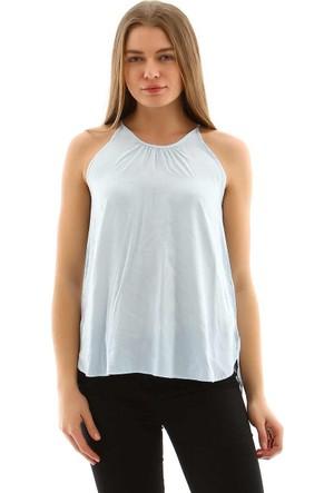 Collezione Kadın Bluz Kısa Kol Preson Açık Mavi