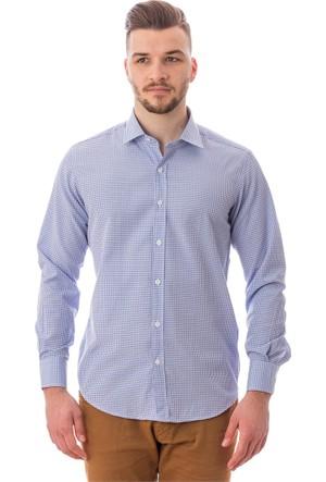 Tudors Dar Kesim Gömlek Mavi Dottı Prınted