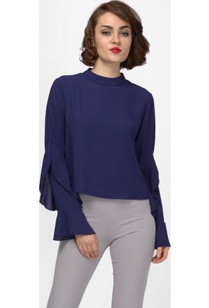 İroni Kolları Fırfırlı Lacivert Bluz