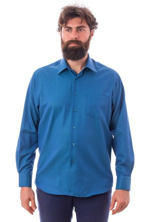 Tudors Klasık Fit Armürlü Garnili Saks Mavi Gömlek