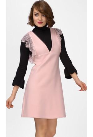İroni Dantel Detaylı Pudra Mini Jile Abiye Elbise