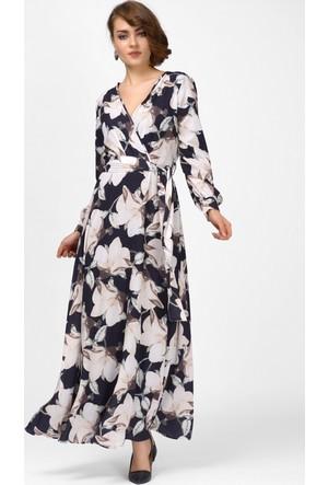 İroni Uzun Siyah Şifon Elbise