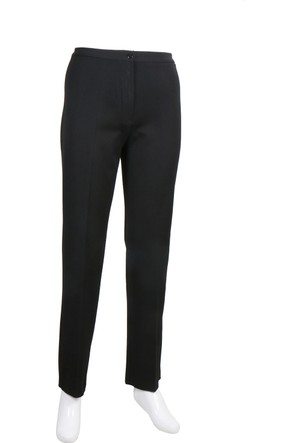 Osman Bey Kadın Büyük Beden Kemerli Yüksek Bel Likralı Kumaş Pantolon Siyah