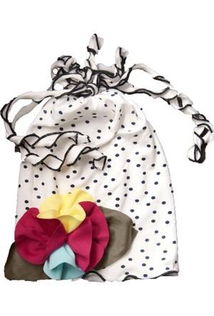 Babygiz Çiçek Aksesuarlı Puantiyeli Şapka